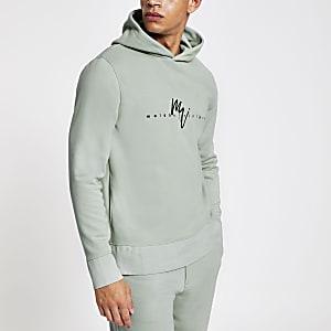 Lichtgroene slim-fit hoodie met 'Maison Riviera'-print