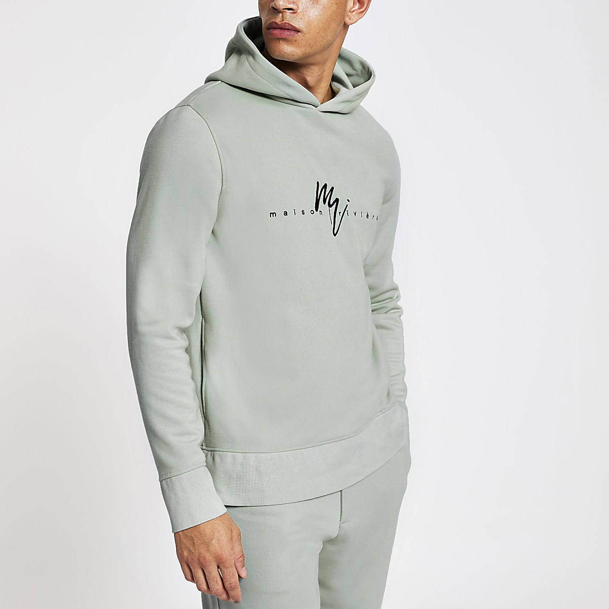 Light green Maison Riviera slim fit hoodie