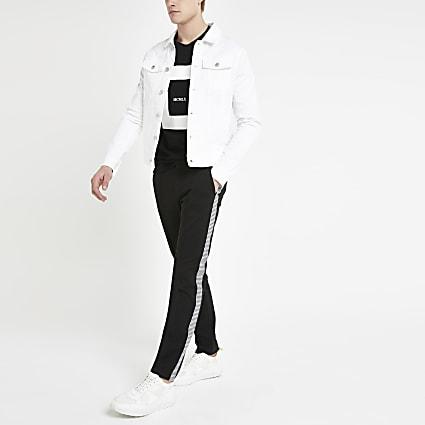 Black skinny smart mono tape jogger trousers
