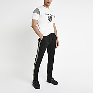 Black skinny fit smart tape jogger trousers