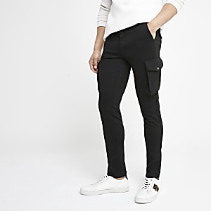 Black skinny smart cargo trousers