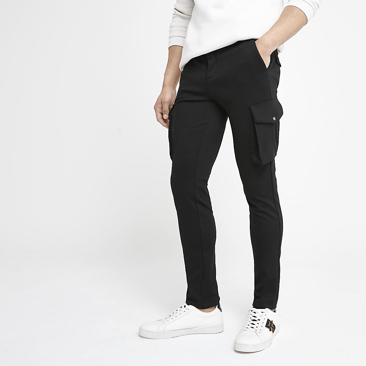 Black skinny smart cargo pants
