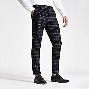 Pantalon de costume skinny à carreaux bleu marine