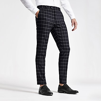 Navy check skinny suit trousers