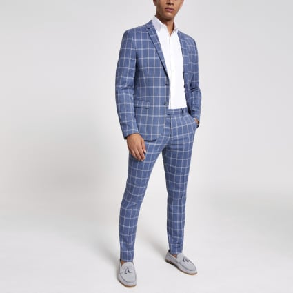 Blue check skinny suit jacket