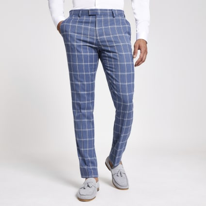 Light blue check suit trousers