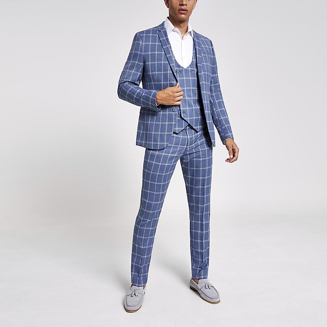 Gilet de costume à carreaux bleu