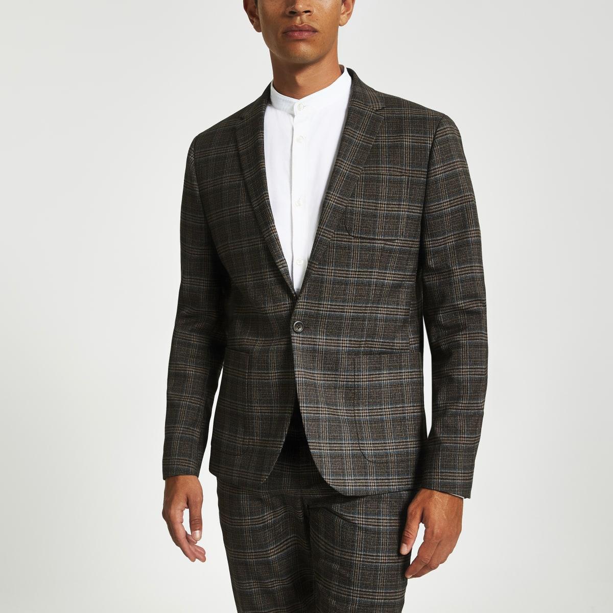 Veste de costume skinny à carreaux marron classique