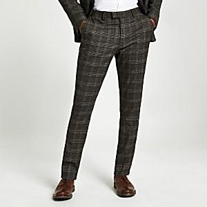 Pantalon de costume marron skinny  à carreaux