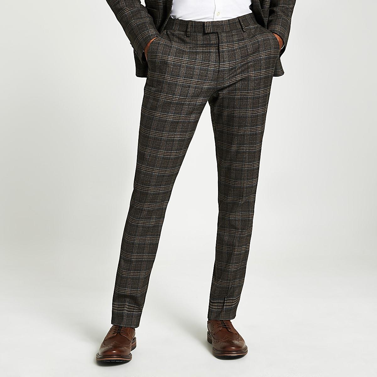 Heritage - Bruin geruite skinny-fit pantalon