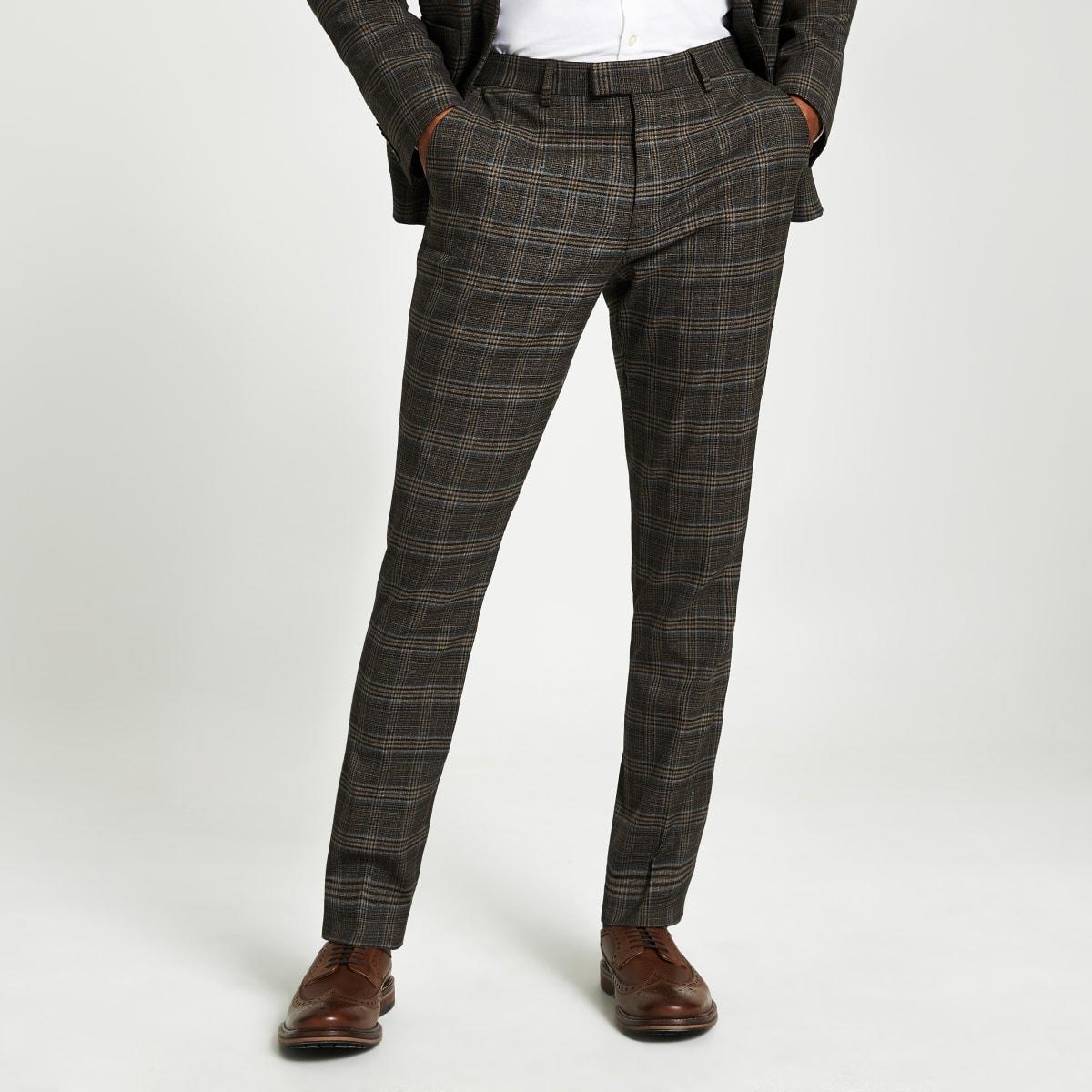 Bruin geruite heritage skinny-fit pantalon