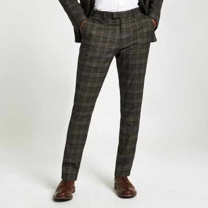 Brown heritage check skinny suit trousers
