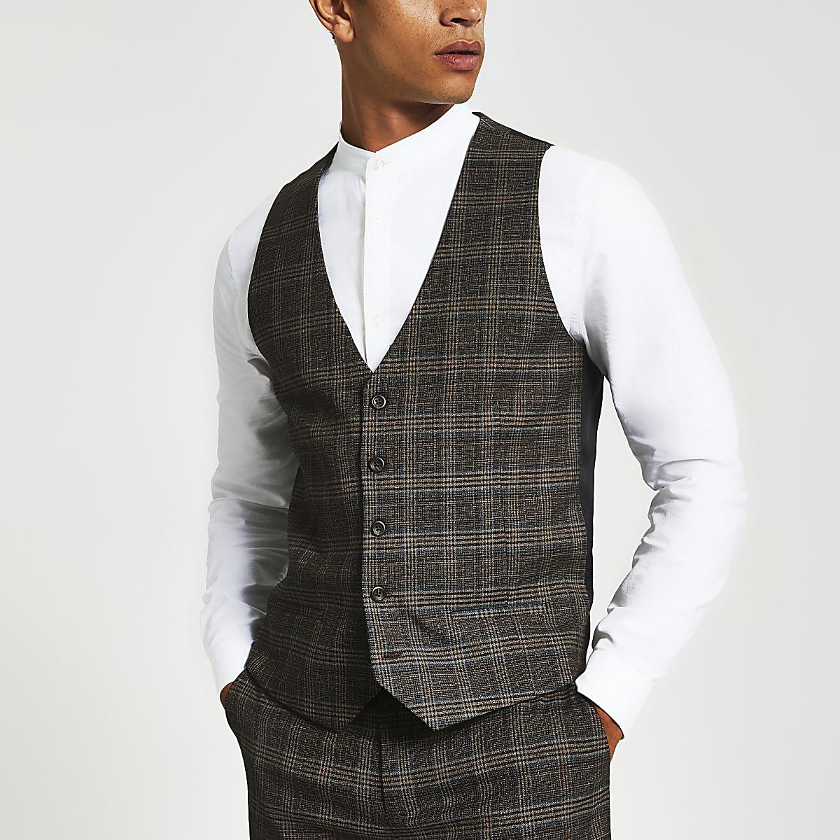 Brown heritage check skinny fit waistcoat