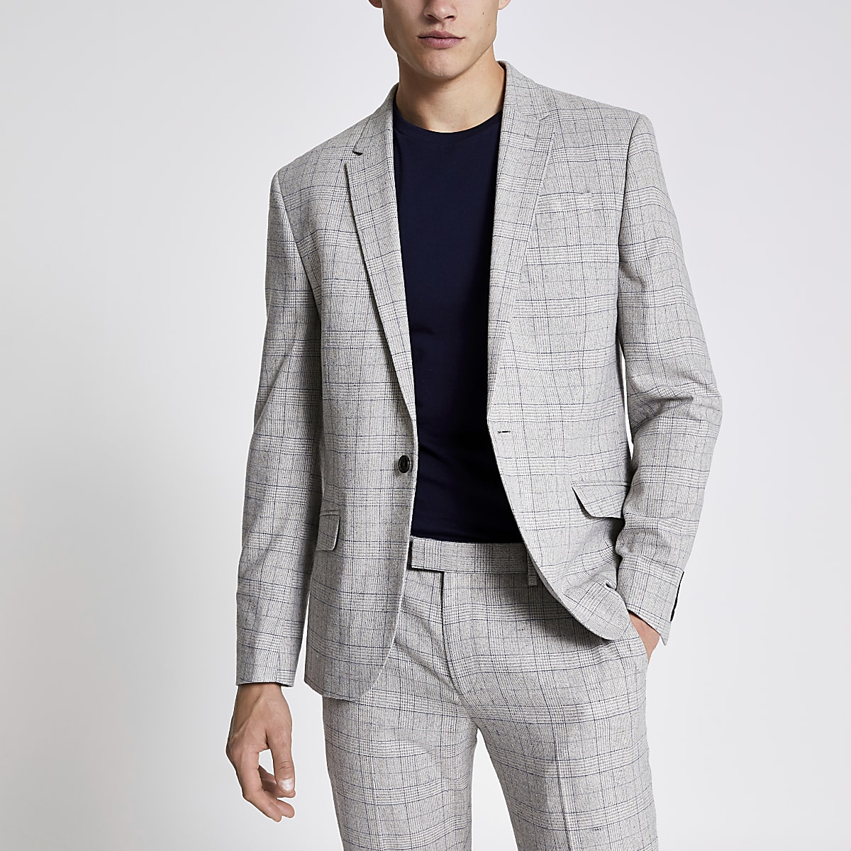 Light grey check skinny suit jacket
