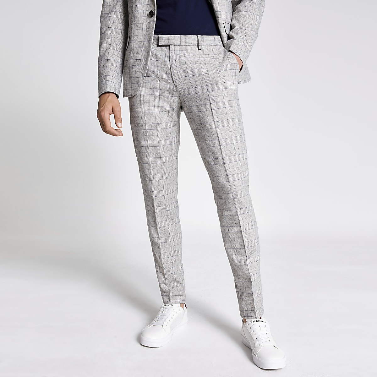 Light grey check skinny suit pants