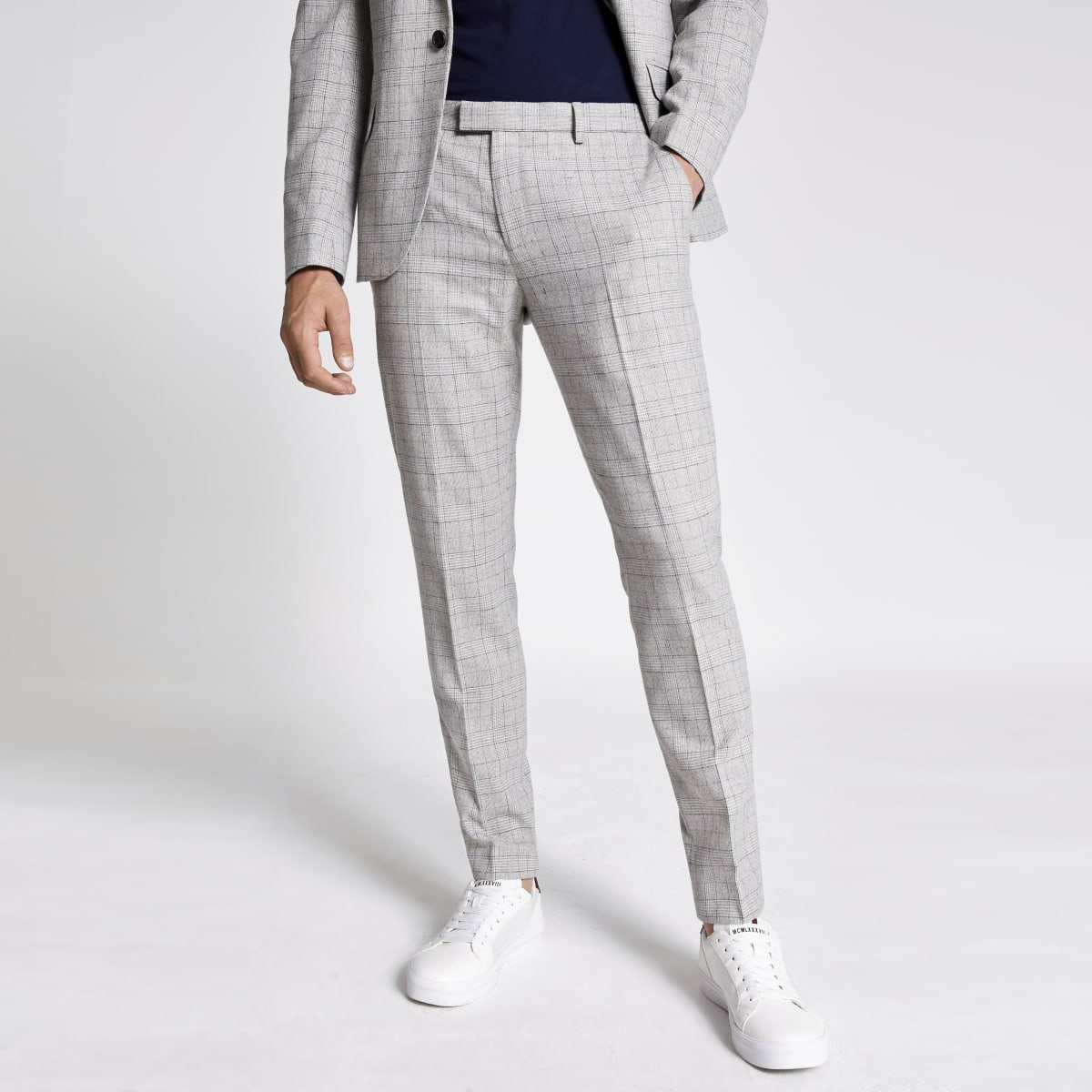 Light grey check skinny suit trousers