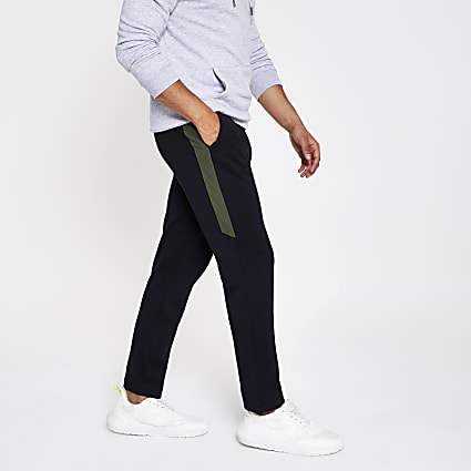 Navy pique jogger trousers