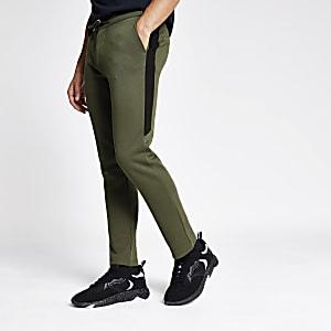 Pantalon de jogging habillé en maille piquée kaki