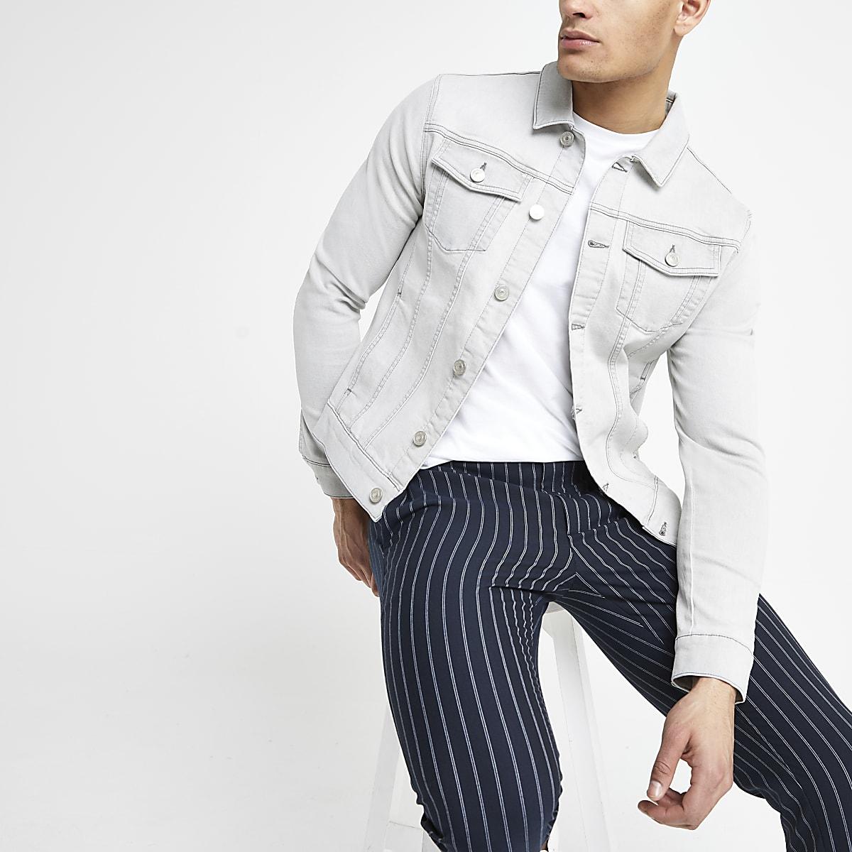 Grey muscle fit denim jacket