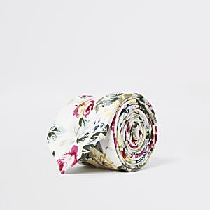 Witte stropdas met bloemenprint