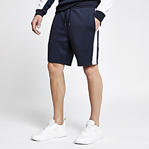 Navy tape slim fit jersey shorts