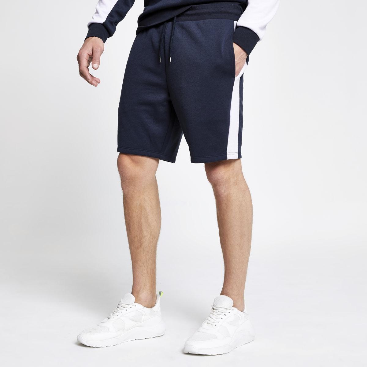 Navy 'Maison Riviera' slim fit jersey shorts