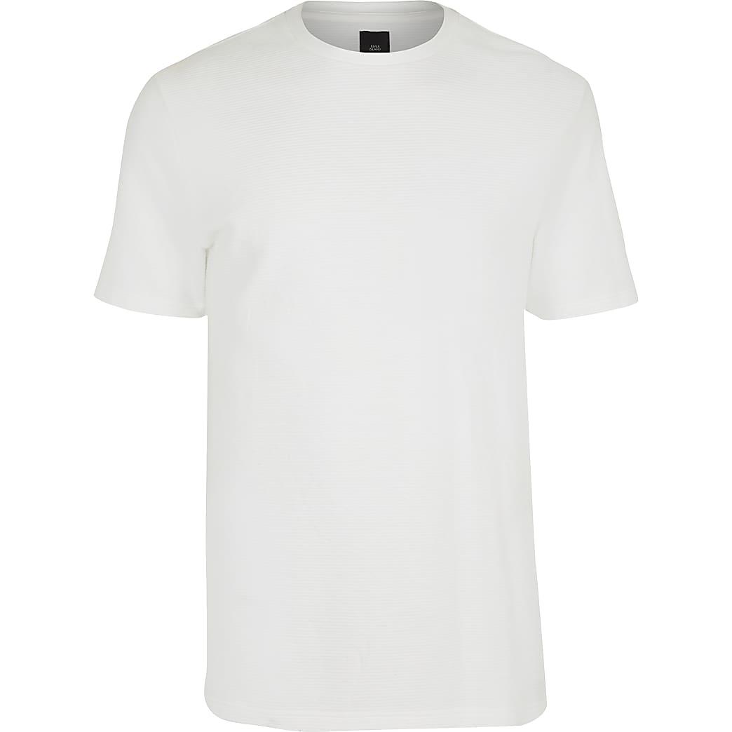 White ribbed slim fit T-shirt