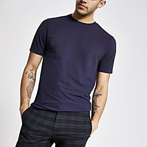 Dunkelgraues, geripptes Slim Fit T-Shirt
