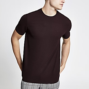 Geripptes Slim Fit T-Shirt in Bordeaux