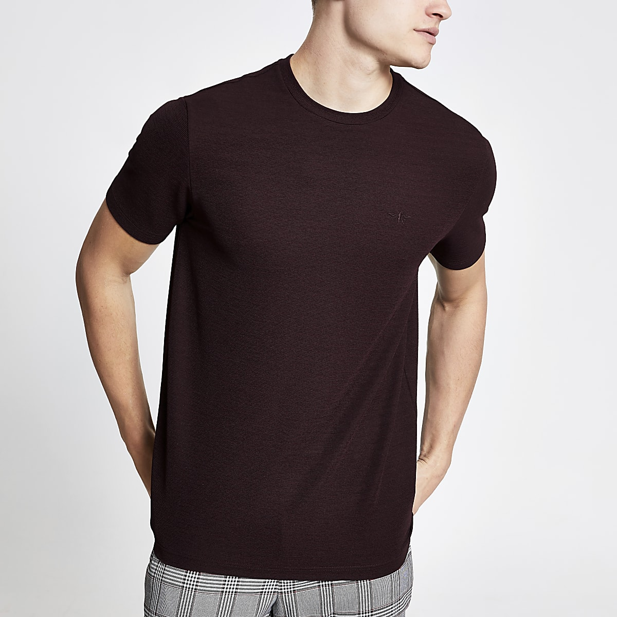 Bordeauxrood geribbeld slim-fit T-shirt