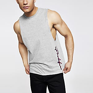 Grey 'Prolific' slim fit tank vest