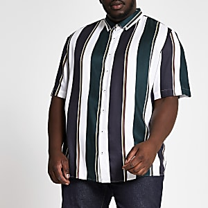 Big and Tall – Chemise rayée blanche à manches courtes