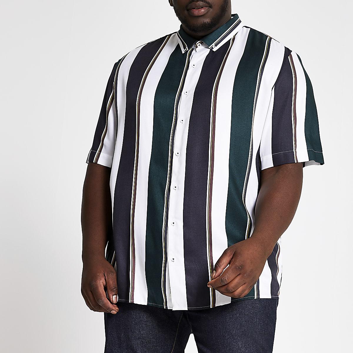 Big and Tall white stripe short sleeve shirt