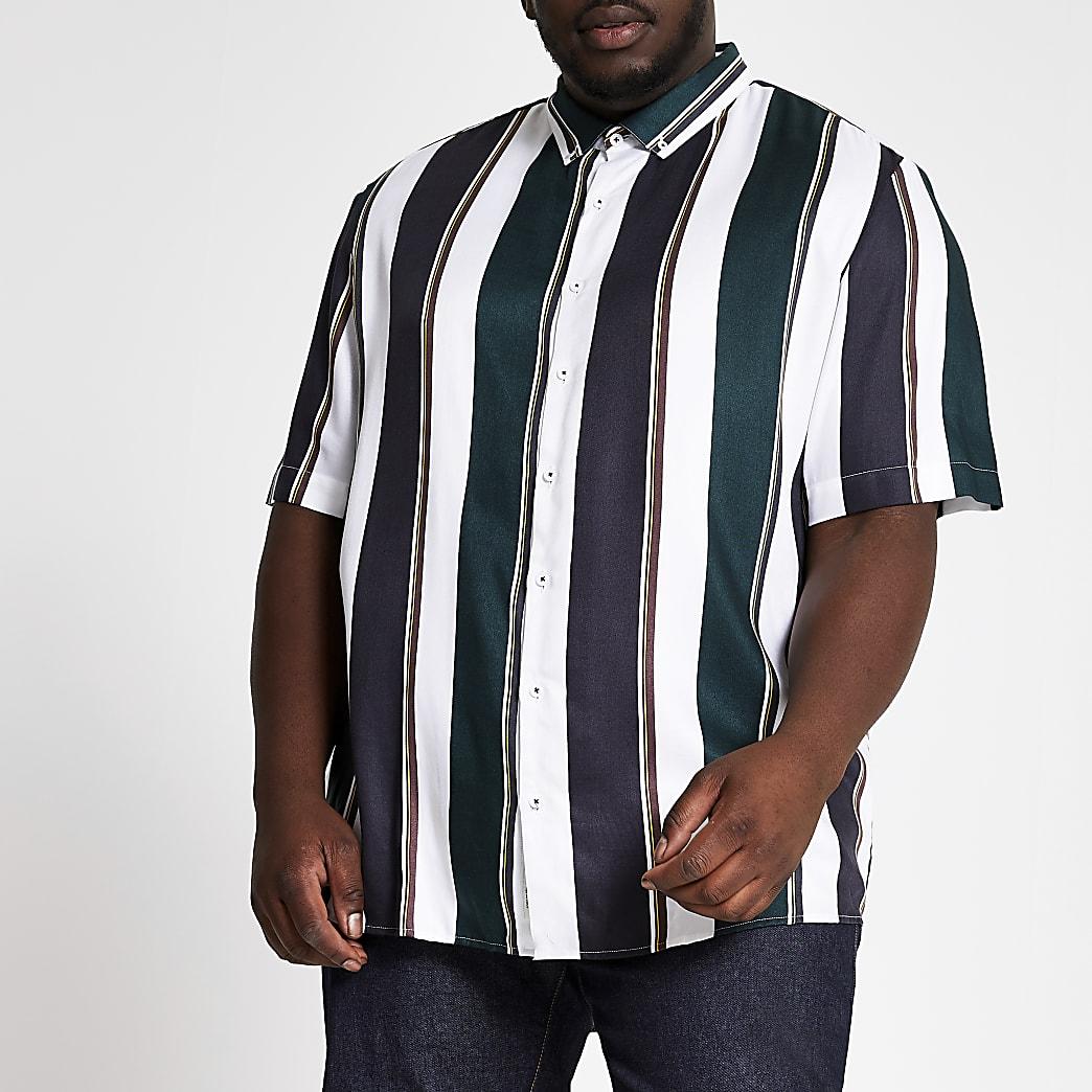 Big and Tall - Wit gestreept overhemd met korte mouwen