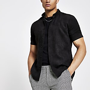 Black faux suede slim fit shirt