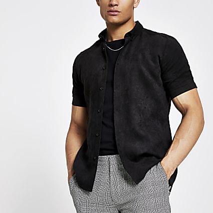 Black faux suede slim fit shirt