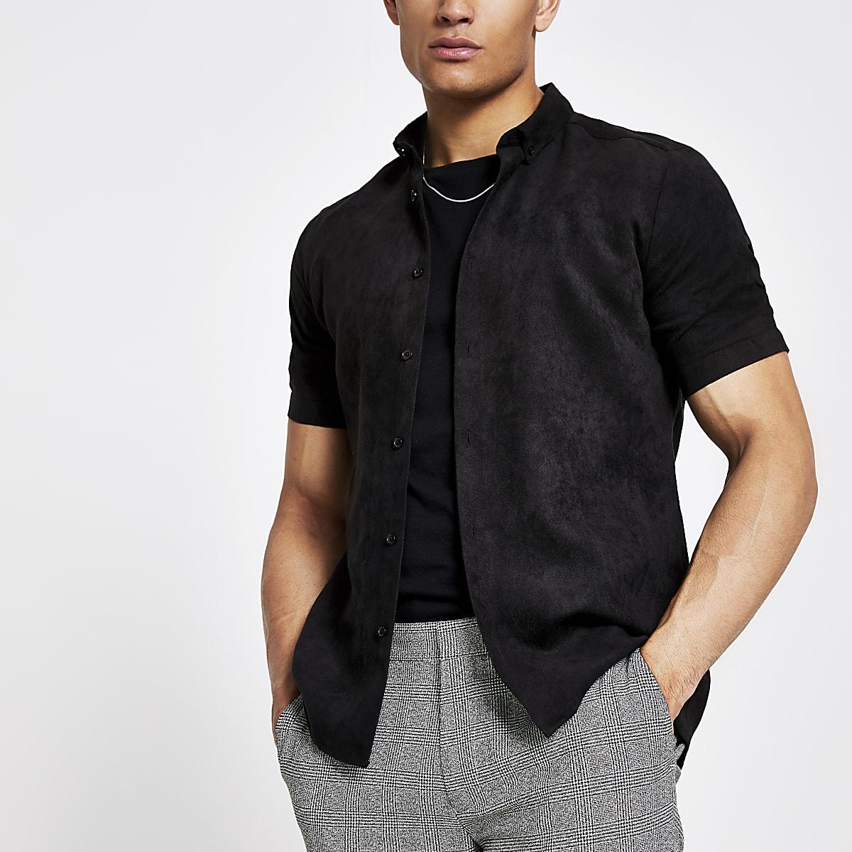 Overhemd Zwart Slim Fit.Zwart Slim Fit Overhemd Van Imitatiesuede Overhemden Met Korte