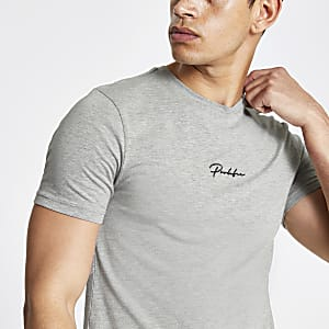 "Grau meliertes Muscle Fit T-Shirt ""Prolific"""