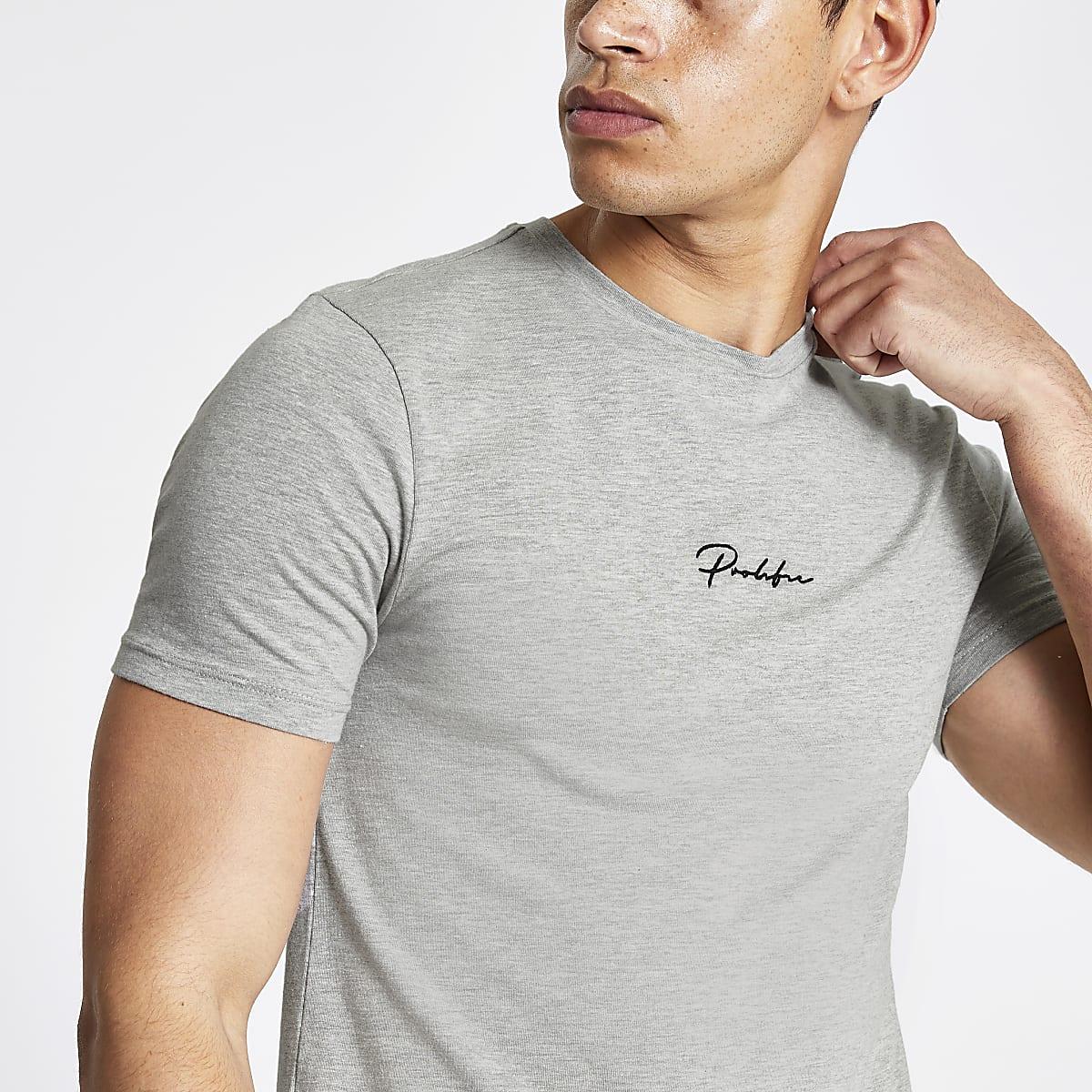 Prolific - Grijs gemêleerd aansluitend T-shirt