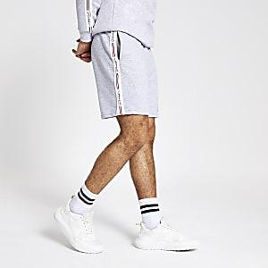 Gemêleerd grijze slim-fit jersey short met 'Prolific'-print