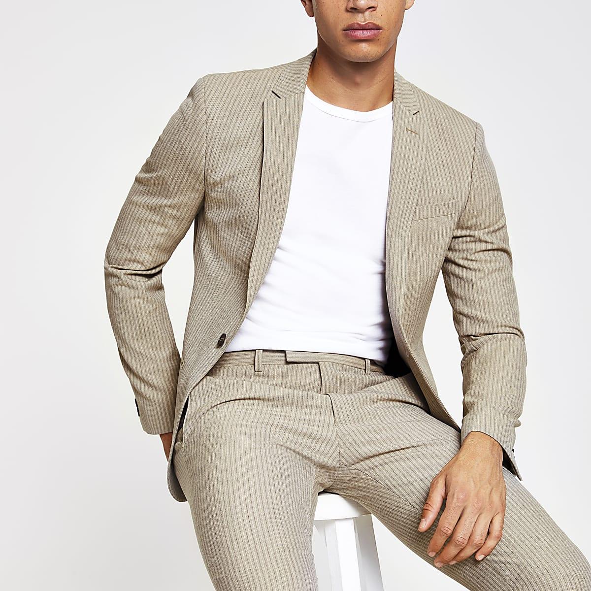 Ecru stripe super skinny fit suit jacket