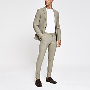 Ecru stripe super skinny fit suit pants