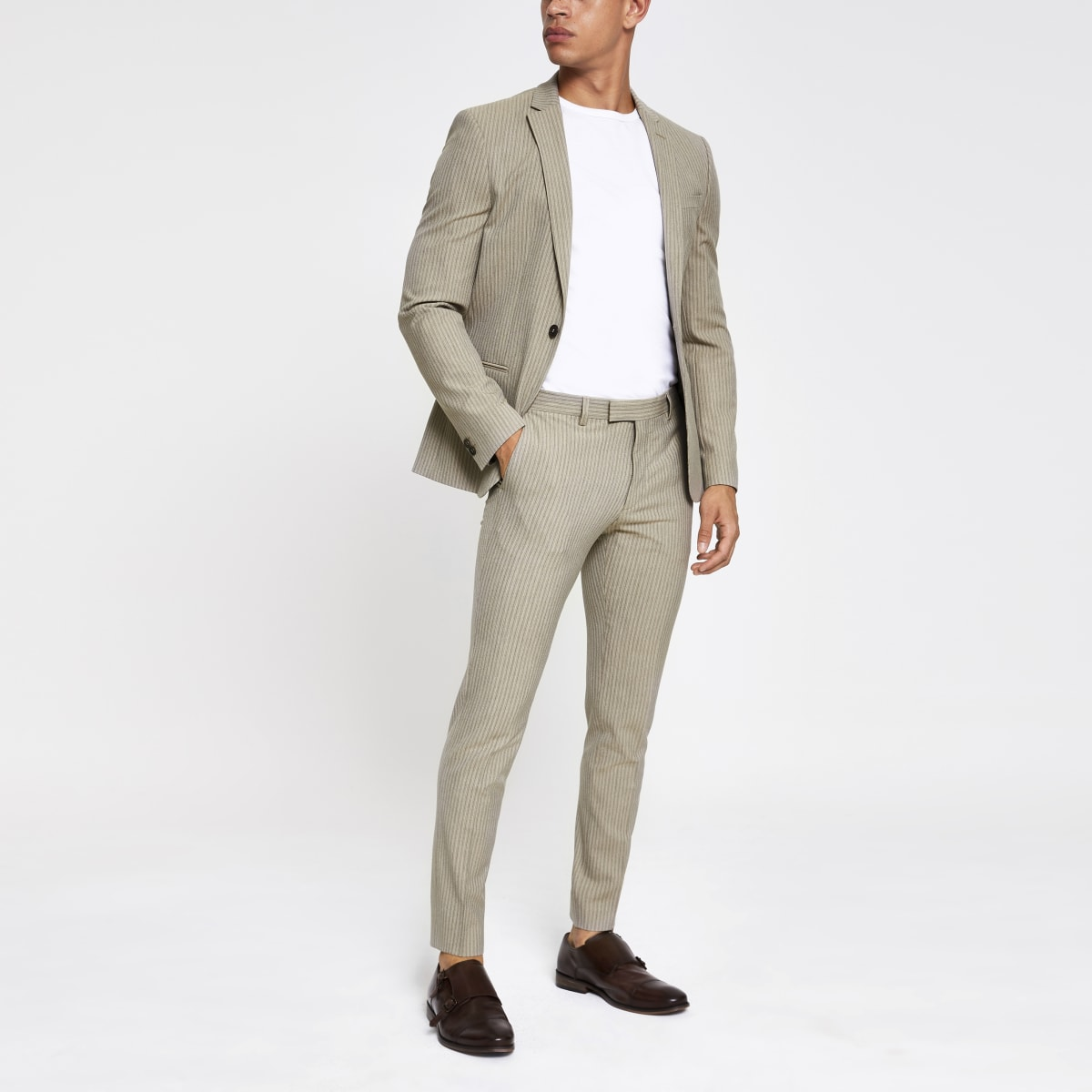 Pantalon de costume super skinny rayé écru