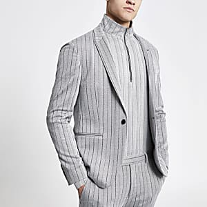 Grey herringbone muscle fit suit jacket