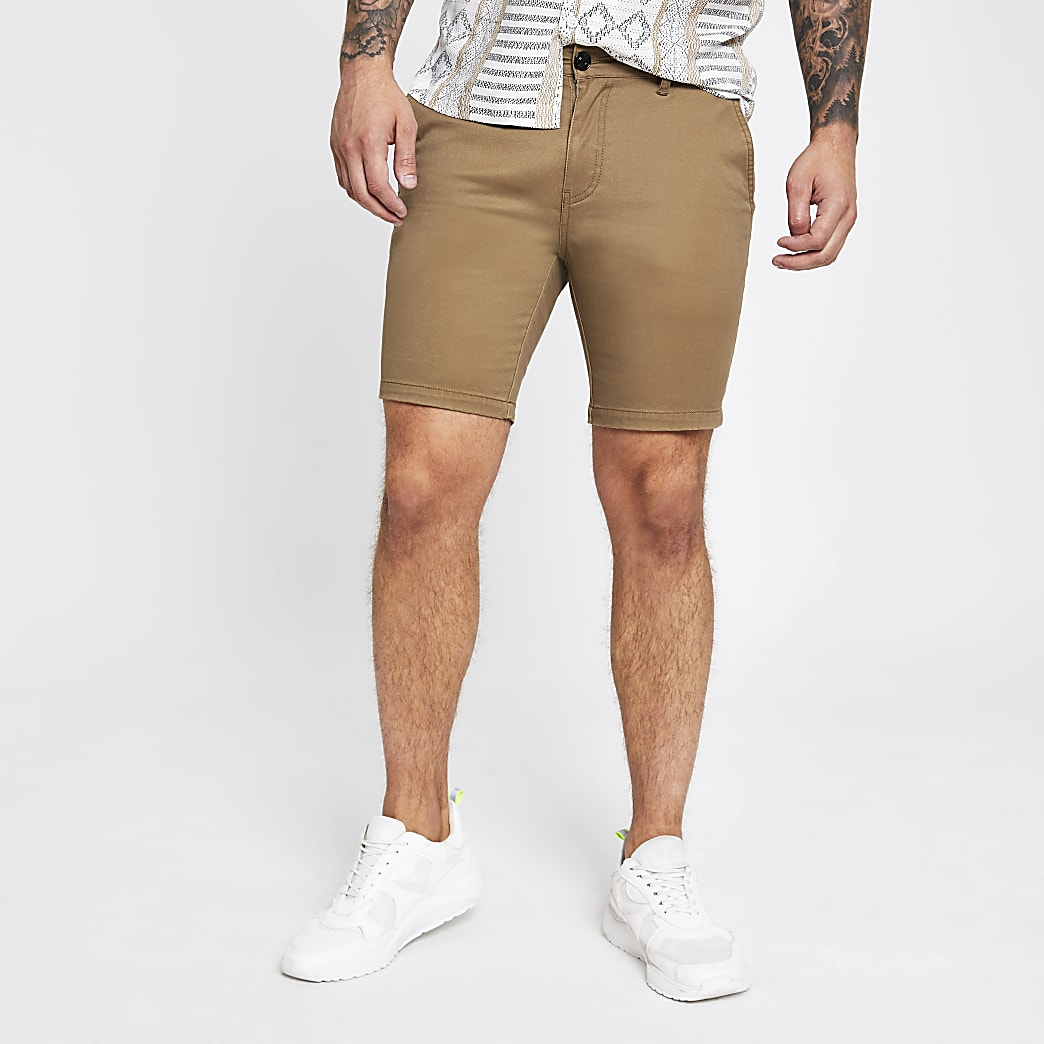 Brown slim fit utility shorts