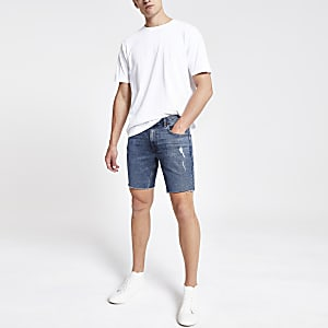 Dylan - Middenblauwe denim smalle short met stretch