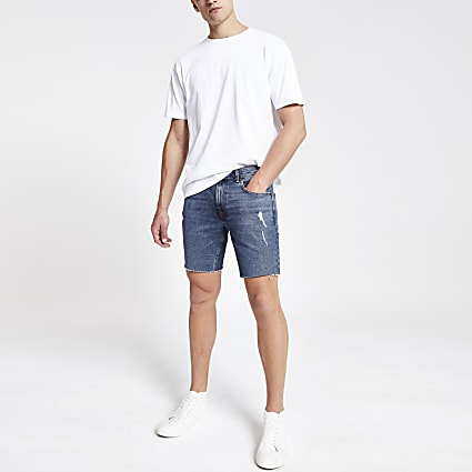 Mid blue Dylan slim stretch denim shorts