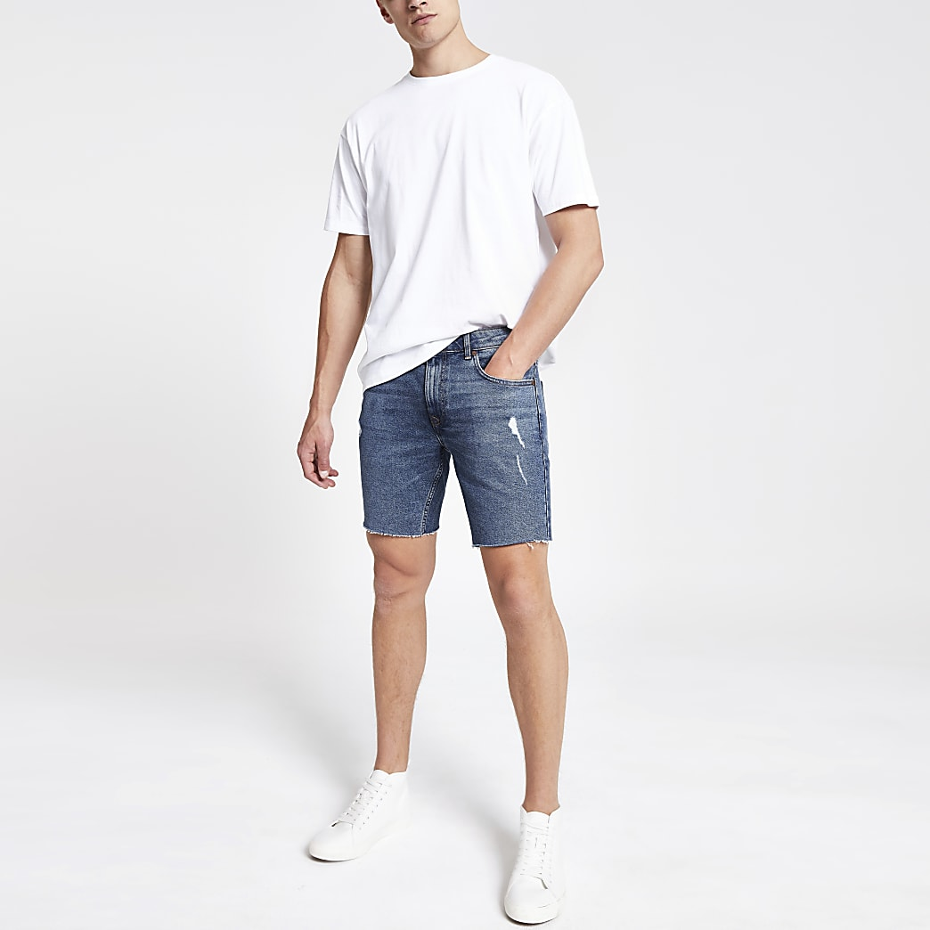 Mid blue Dylan slim stretch denim shorts