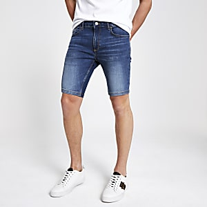 Sid - Blauwe denim skinny short met stretch