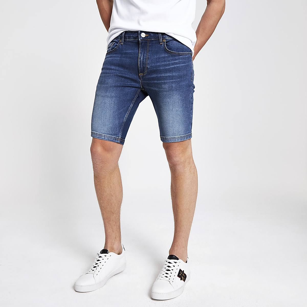 Blue Sid skinny stretch denim shorts